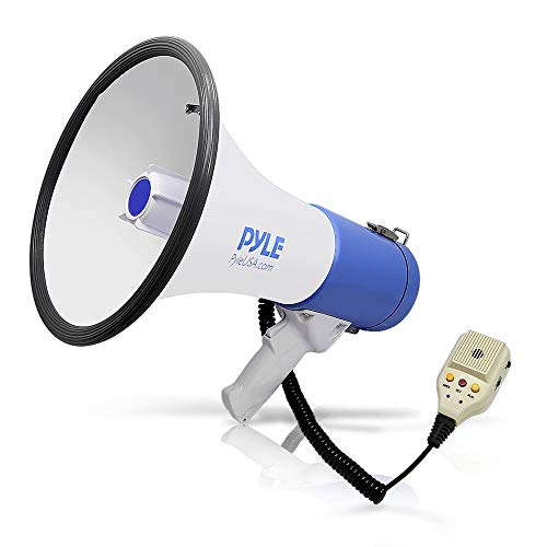 Pyle Megaphone PA Bullhorn Speaker - Built-in Siren 50 Watts Rechargeable Battery- 10 Sec Record Function for Football Baseball Basketball Cheerleading Fans Coaches or for Safety Drills - (PMP59IR)