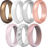 ThunderFit Silicone Rings, 7 Rings / 1 Ring Wedding Bands for Women - 5.5 mm Wide (Women Bronze, White, Rose Gold, Silver, Light Pink,...
