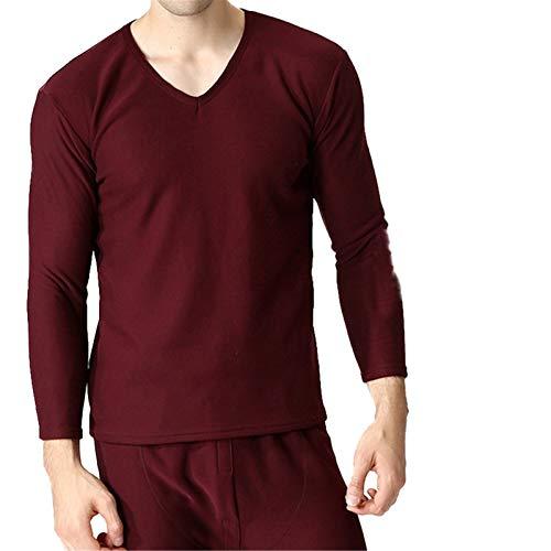 Conjuntos térmicos Gruesos de Invierno para Hombre, Camisa de Fondo de Gran tamaño, Traje de Ropa Interior de Terciopelo cálido Wine Red V 9XL