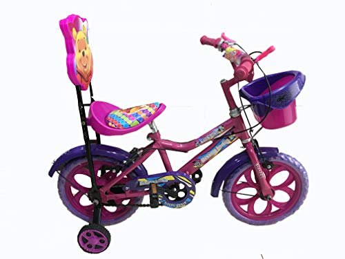 "Rising India 14"" Kids Bicycle for 3-5 Years with More Soft and Comfortable Seat with Back Support and Basket (Flower Pink)"