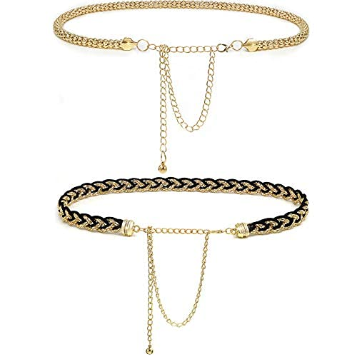2 correas de cadena para mujer, cadena ajustable de cintura para vestido de moda de oro