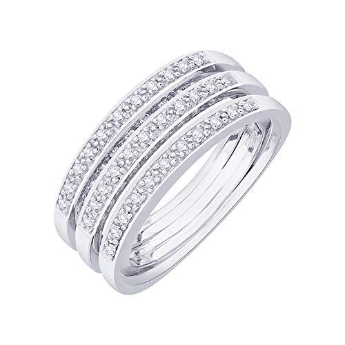 Anillo de plata de ley con diamante de 1/2 quilate (I-color, SI3/I1-Clarity)