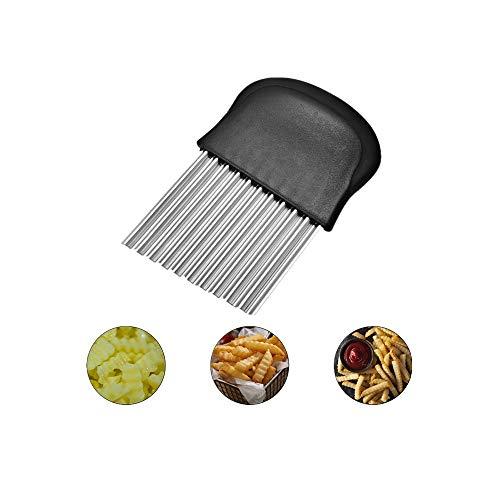 LATTCURE Pommes Wellenmesser, Edelstahl Kartoffelschneider Gemüsehobel Kartoffel Wellenschneider Pommes Frites Schneider für Obst Gemüse Salat Schneider Werkzeug, Süßkartoffeln und Obst oder Gemüse