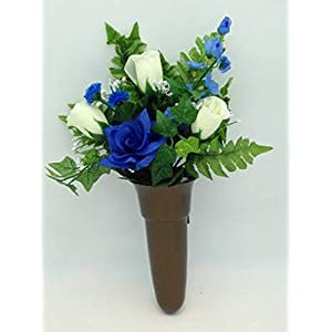 Crypt Mausoleum Vase & Silk Cream Roses Blue Delphinium Flowers w/ Bolt Ring Support
