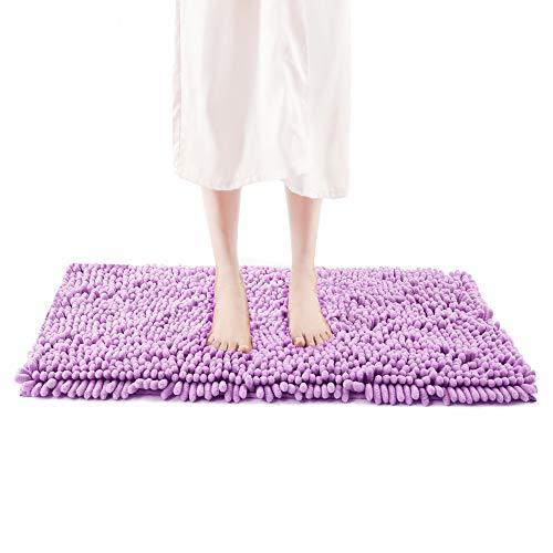 FRESHMINT Chenille Bath Rugs 1.65' Piles, Soft Fluffy Super Absorbent Bath Mats, Plush Shag Rug, Non-Slip Carpet for Tub Bathroom Shower Mat, Machine-Washable Durable Area Rugs (32' x 20', Lilac)