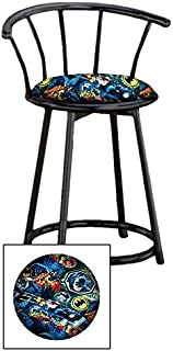 Custom Arcade Gaming Stool in a Black Metal Finish with a Swivel Seat and Backrest Featuring a Batman Comic Book Hero Themed Seat Cushion! (Batman Whaam on Cotton)