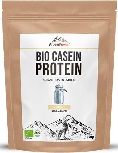 ALPENPOWER BIO MICELLAR CASEIN-PROTEIN mit BCAAs und Aminosäuren I 100% reines Casein-Proteinpulver ohne Zusatzstoffe I Hochwertiges Eiweiß Casein-Pulver I Milchprotein Eiweiß-Pulver Low Carb I 750 g