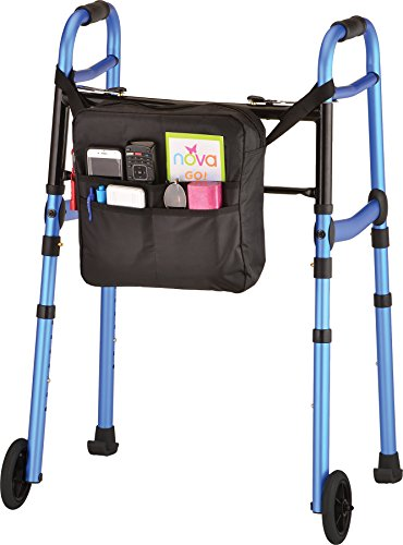 "NOVA Folding Walker with 5"" Front Wheels, Glide Skis and Mobility Bag, Portable and Great for Travel, Color Blue"
