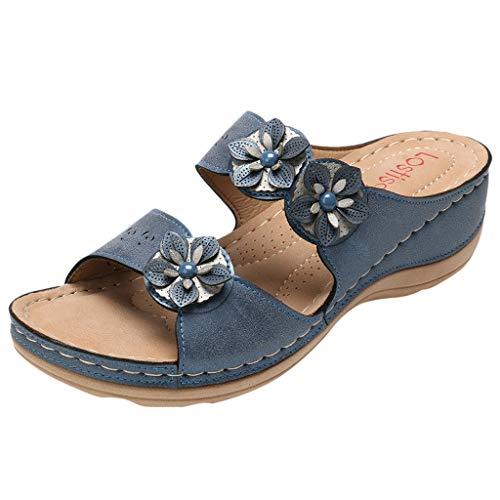 LuckyGirls Sandales pour Femmes Appartements Bout Ouvert Bas épais Chaussures Confortables Coins Pantoufles