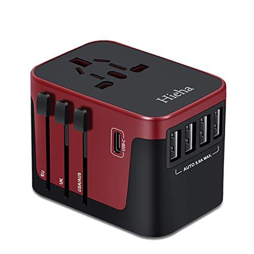 Hieha Reiseadapter Reisestecker Universal Travel Adapter,Internationale Netzadapter 8A mit 4 USB Ports+ Typ C und AC Steckdosenadapter für Weltweit 224 Ländern Europa UK USA Asia Australien usw.