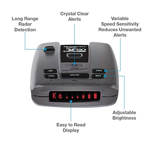 Escort Passport 8500 X50 Radar Detector – Extended Long Range, AutoMute, AutoSensitivity, Audible Alerts, Adjustable LED Display, Signal Strength Meter, Grey, 1.25'X2.85'X5.32'