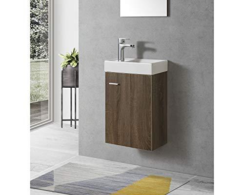 Badmöbel Unterschrank Atlantis 40 inkl. Waschtisch, Nussbaum Badezimmer Badmöbel Waschbeckenunterschrank Bad Unterschrank Waschtisch