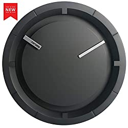MIDCLOCK Wall Clock, New Modern Black Analog Clock, Silent Non-Ticking - 12 Inch Quality Quartz Battery Operated Round, Decorative Clock for Living Room Bedroom Office/Home/School Gift Clock (Black)