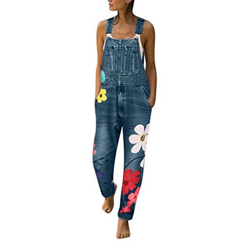 LianMengMVP Mono Vaquero Mujer Pantalones Estampado de Flores Casual Pantalones Pants Jumpsuits Femenina Petos Pantalones de Mezclilla Rompers Mameluco Monos con Bolsillo