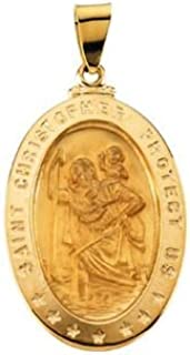 Jewels By Lux 18K Yellow Gold 29x20mm Oval St. Christopher Medal