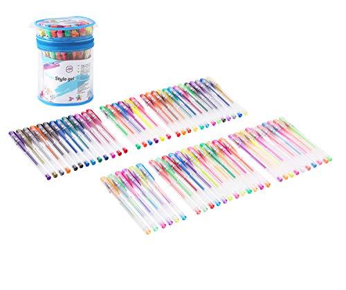 Exerz Art EXGL60 60 STK farbige Gel Stifte Set in einem PVC Eimer, feine Tinten-Kugelschreiber, Glitzer-Stifte enthalten, neon, metallic, Glitzer neon, Pastel, Regenbogen and und Klassiche Farben
