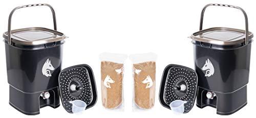 FairFox 2X Bokashi Eimer Komposter 19 L aus 100% recyceltem Kunststoff inkl. 2 kg Effektive Mikroorganismen Ferment I In nur 2 Wochen von Biomüll zu Kompost-Dünger - Ohne Gerüche, Ohne Schimmel