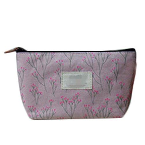 Demarkt 1 Pcs Femelle Sac de Maquillage Sac de Rangement Toile Zip Fleur Multifonctionnel Porte-Monnaie (Rose)