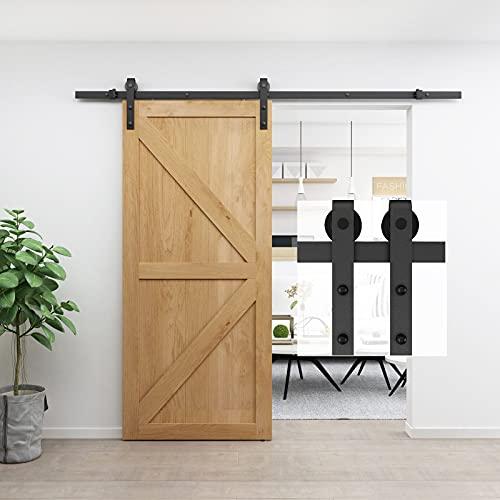 BARNSMITH Kit de hardware de puerta corredera de acero resistente 8 pies/244 cm negro puerta de granero pista de montaje lateral armario puerta pista, forma J POM rodillo suspensión