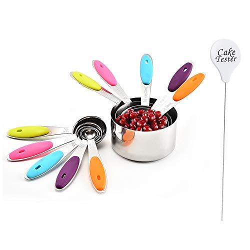 Jsdoin Juego de 10 tazas de cucharas medidoras y probador de pasteles, cucharas medidoras de acero inoxidable con mango de silicona para medir ingredientes líquidos y secos
