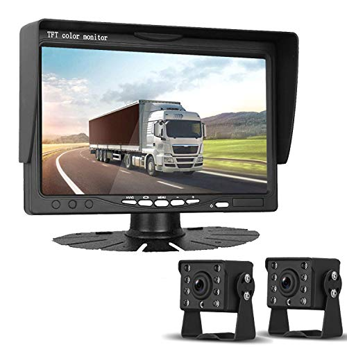 HD 720P Dual Backup Cameras and 7' Monitor System Kit for Bus/Trucks/Trailer/RVs/Campers Night Vision IP68 Waterpoof with ON/Off Switch Guide Lines Normal/Mirrored Pictures Optional