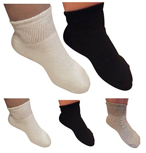 AHG Diabetic Ankle Socks for Men and Women-Wide Quarter Socks-6 Pair-Made In USA