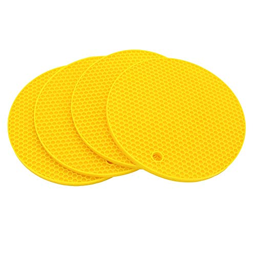 Smithcraft Silicone Trivet Mat for Counter Top Hot Pads for Pan and Pot Heat Resistant Hot Protector Workshop,Table Placemats 4 Pack,Size:7x7 Inch, Color: Yellow,Shape:Round