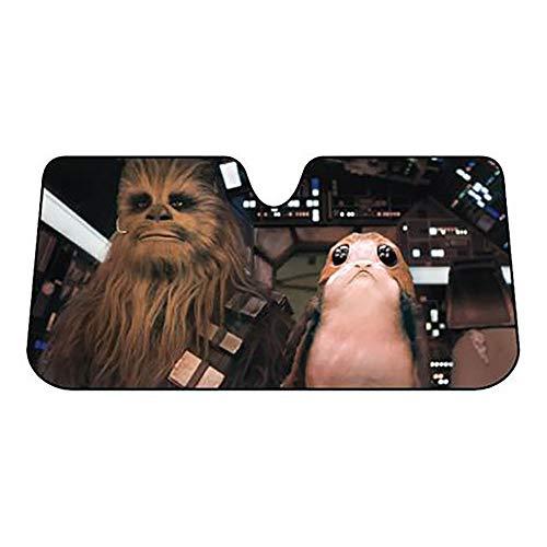 Plasticolor 003848R01 Star Wars Chewbacca Chewie and PORG Accordion Sunshade for Your Auto Car Truck SUV Vehicle - Universal Fit Sunshade