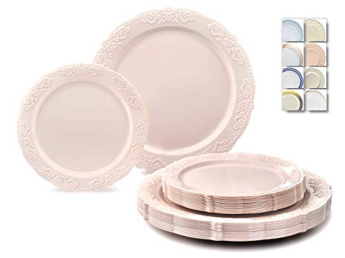 ' OCCASIONS' 50 Plates Pack (25 Guests)-Vintage Wedding Party Disposable Plastic Plate Set -25 x 10.25'' Dinner + 25 x 7.5'' Salad/Dessert plates (Portofino in Light Pink)