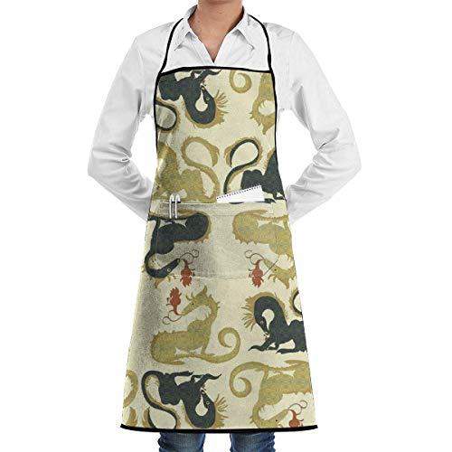 Gemusterte Schürze der goldenen Drachen mit Taschen für und Frauen, Koch, Küche, Restaurant, Grill, Grill, Backen