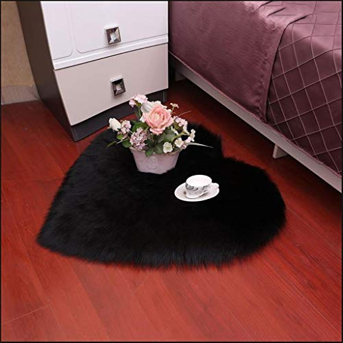 Amazing Deal CarPet Bedroom Heart-Shaped Non-Slip Cushion Does not Hurt The Floor (Color : Black, Si...