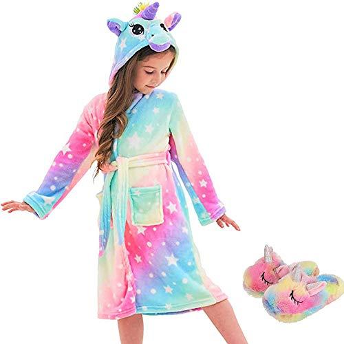 Ruiuzioong Kinder Sanft Einhorn Kapuzenbademantel und Einhornschuhe Mit Kapuze Bademantel Nachtwäsche Einhorn-Geschenke für Mädchen (Xinhe- Unicorn,4T)