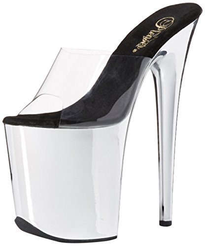 Pleaser Damen FLAMINGO-801 Peep-Toe Pumps, Transparent (CLR/SLV Chrome), 38 EU