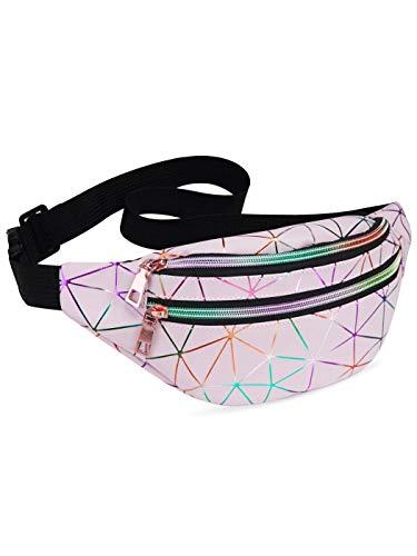 LIVACASA Riñoneras Mujeres de Moda Riñoneras Deportivas Impermeables Plegable Brillante Bolsas de Cintura Running Paseo de Marcha PU Material Unisex Rosa