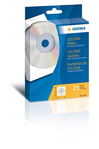 Herma 1144 CD-Papierhüllen mit Klebefläche, 25 Stück, weiß