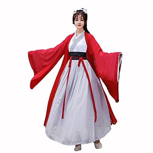 Hanfu Las Mujeres Tradicionales Chinas Hanfu Vestido Retro De Espadachín Guapo Conjunto De 3 Piezas De Hada Elegante En Primavera Y Otoño. Disfraces De Cosplay De Fiesta ( Color : Red , Tamaño : XL )