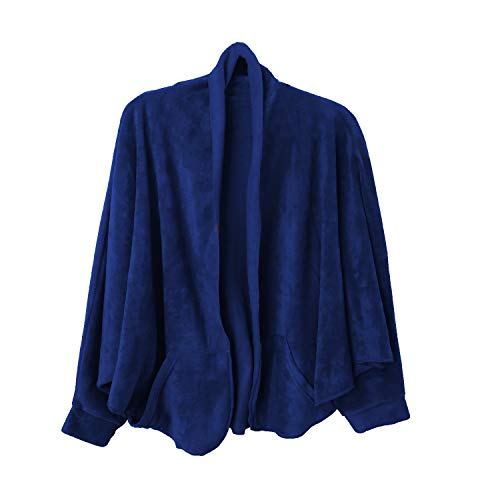35 Below Cuffed Shawl with Pockets, Comfortable and Soft Cardigan   Navy Large/X Large