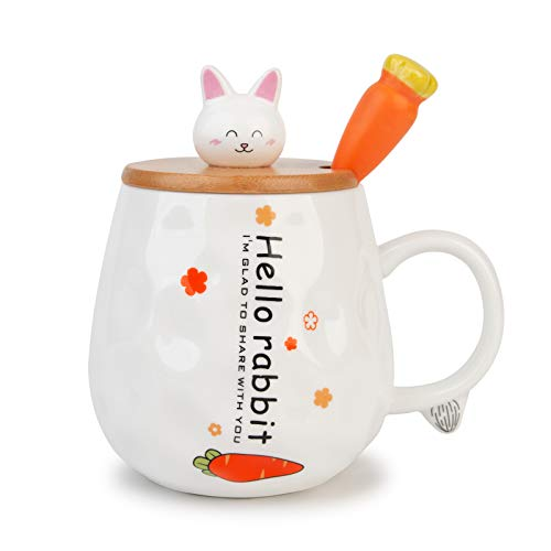 TopGearWorld Taza de Desayuno para Regalar a Amigos Taza de Café Gato 450ml Taza de Té Conejo con Tapa Cuchara (Blanco)