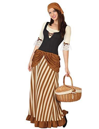 Mittelalterliche Bäuerin Damenkostüm Mittelalter braun beige XS/S