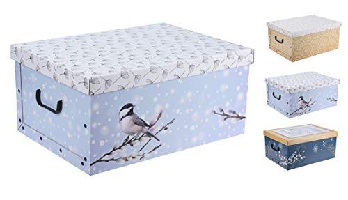 Spetebo 3er Set Aufbewahrungsbox in 3 Farben (Winter Motive) mit jeweils 45 Liter Inhalt - Aufbewahrungsbox