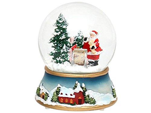 Dekohelden24 Schneekugel, Tannenbaum mit Weihnachtsmann, mit Schneewirbel und Licht, Maße H/B/Ø Kugel: ca. 13,5 x 11 cm/Ø 10 cm.