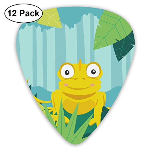 Cartoon Chameleon Guitar Picks (12-Pack) Picks for Acoustic Electric Guitars Bass Or Ukulele Includes Thin, Medium, Heavy Gauges