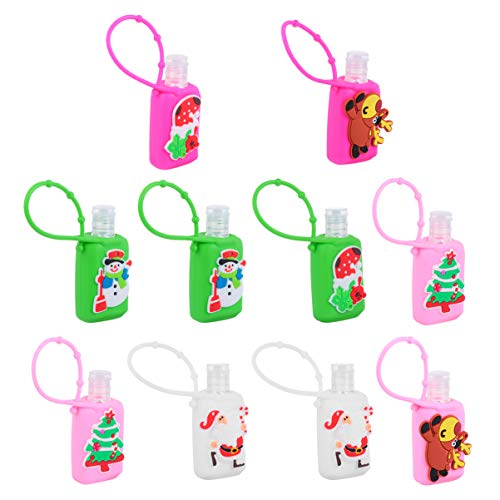 Cabilock 10 Stücke Kinder Reiseflaschen Schlüsselanhänger Weihnachten Mitgebsel Figuren Silikon Flip Cap Flasche Leere Seifenspender Duschgel Reisebehälter für Shampoo Handgel(30ML, Zufällig)