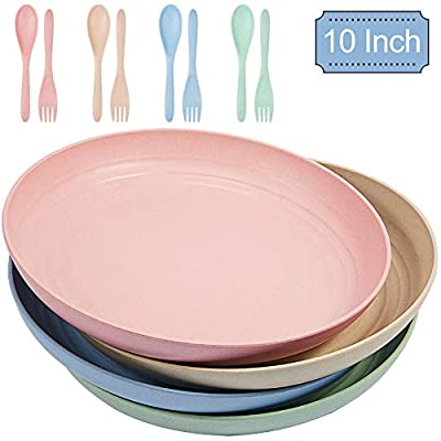 Parboom Wheat Straw Plates, 10 Inch 4 Color Eco-Friendly Family Dinner Plates 4 Pcs, Dishwasher and Microwave Safe, BPA FREE, Green and Healthy for Kids