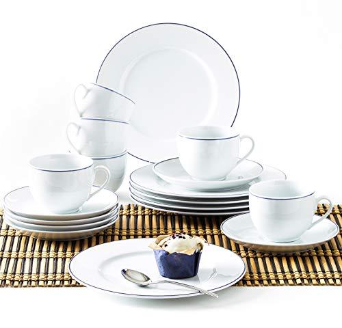 Kahla 050104O72045A Aronda Blaue Linie Geschirrset Porzellan 6 Personen Kaffeeservice Teeservice Frühstück Tassen Teller 18-teilig weiß Kaffeeset