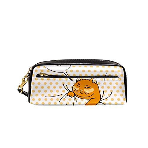 Federmäppchen mit lustigem Spionage-Katzen-Motiv, PU-Leder, Tasche für Schule, Schreibwaren,...