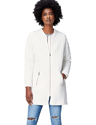 find. Long Jersey Bomber Chaqueta para Mujer, Blanco (White), 42 (Talla del Fabricante: Large)