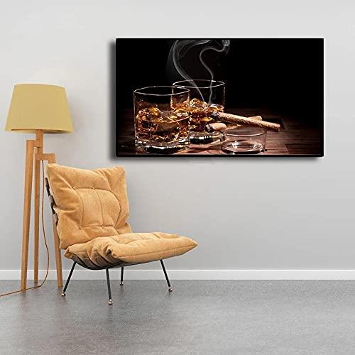 cuadros decoracion lienzowall art Cigarros Abstractos Modernos Vino Foto Copas Bar Decoración Para El Hogar(50x70cm-Frameloos )