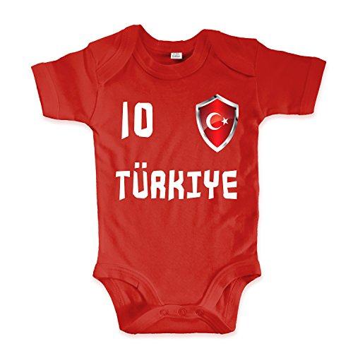 net-shirts Organic Baby Body mit Türkei Turkey Türkiye 02 Aufdruck Fußball Fan WM EM Strampler - Spielernummer wählbar, Größe 00-03 Monate-Spielernummer 10