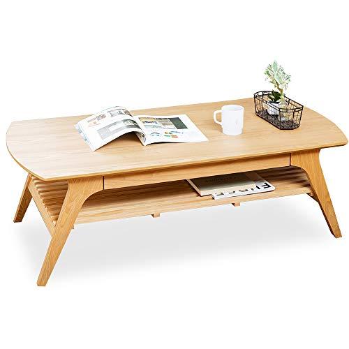 アイリスプラザ テーブル ローテーブル 引き出し収納付き 棚付き 幅120×奥行60×高さ40㎝ ナチュラル DLT-1200